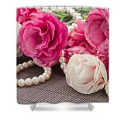 Pink Eustoma Flowers  Shower Curtain