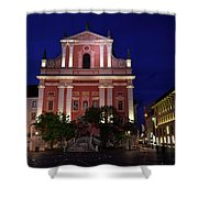 Pink Facade Of Franciscan Church Of The Annunciation Next To Urb Shower Curtain