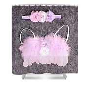 Pink Feather Angel Wings With White-violet Flowers And Headband Shower Curtain