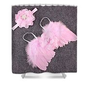 Pink Feather Baby Girl Angel Wings With Flower Lace Headband Shower Curtain