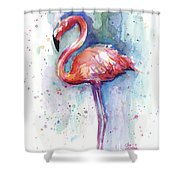 Pink Flamingo Watercolor Shower Curtain