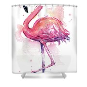 Pink Flamingo Watercolor Tropical Bird Shower Curtain