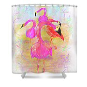Pink Flamingos In The Park Shower Curtain