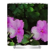 Pink Floral Watercolor Shower Curtain