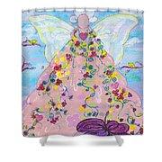 Pink Flower Angel Shower Curtain