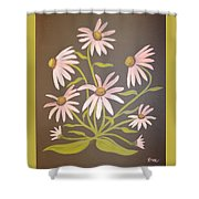 Pink Flowers With Brown Background Shower Curtain