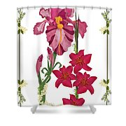 Pink Flowers With Willow Borders Shower Curtain
