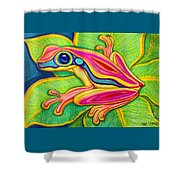 Pink Frog On Leafs Shower Curtain