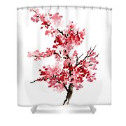 Cherry Blossom, Pink Gifts For Her, Sakura Giclee Fine Art Print, Flower Watercolor Painting Shower Curtain