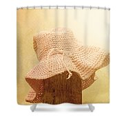 Pink Girls Hat On Farmyard Fence Post Shower Curtain