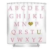 Pink Gold Abc Alphabet Heart Sampler Print Shower Curtain