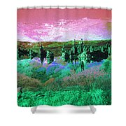 Pink Green Waterscape - Fantasy Artwork Shower Curtain