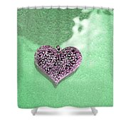 Pink Heart On Frosted Glass Shower Curtain