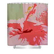 Pink Hibiscus Abstract Shower Curtain