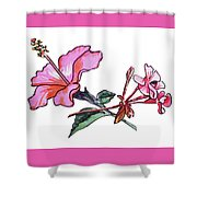 Pink Hibiscus And Geranium  Shower Curtain