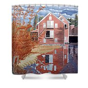 Pink House In Autumn Shower Curtain