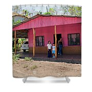 Pink House In Costa Rica Shower Curtain