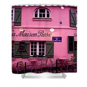 Pink House Shower Curtain by Milan Mirkovic