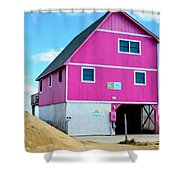 Pink House On The Beach 1 Shower Curtain