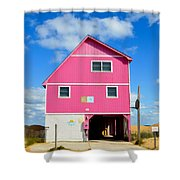 Pink House On The Beach 3 Shower Curtain