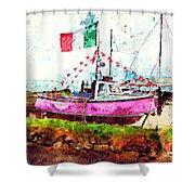 Pink Irish Boat Shower Curtain