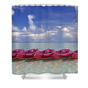 Pink Kayaks Lined Up Shower Curtain