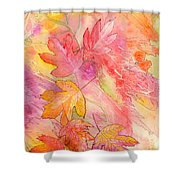 Pink Leaves Shower Curtain