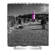Pink Lighthouse Of St Ives Shower Curtain
