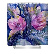Pink Lilies In Vase Shower Curtain