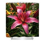 Pink Lily Lush Garden Shower Curtain