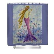 Pink Mermaid In Her Garden Shower Curtain