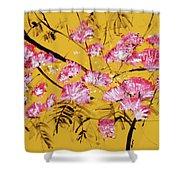 Pink Mimosa Tree Dark Yellow 201642 Shower Curtain