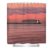 Pink Morning In The Bay Of Thunder Shower Curtain