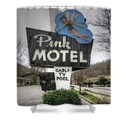 Pink Motel Sign Maggie Valley North Carolina Shower Curtain