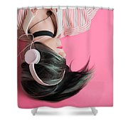 Pink Music Time Shower Curtain