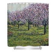 Pink Orchards Garden Shower Curtain