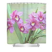 Pink Orchid Photo Sketch Shower Curtain