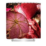 Pink Ornaments Holiday Card Shower Curtain
