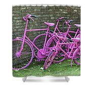 Pink Painted Bikes And Old Wall Shower Curtain