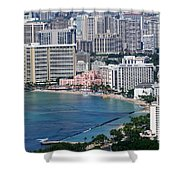Pink Palace Waikiki Honolulu Shower Curtain