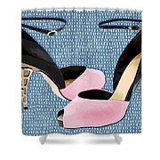Pink Patent Leather With Sculpted Metal Heels Shower Curtain