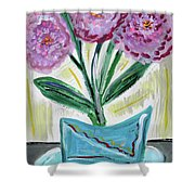 Pink Peonies-gray Table Shower Curtain