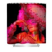 Pink Pixelated Princess Shower Curtain