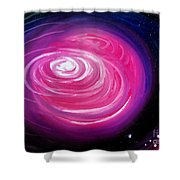 Pink Planet With Diffusing Atmosphere Shower Curtain