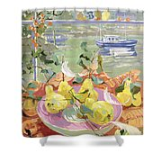 Pink Plate Of Pears Shower Curtain