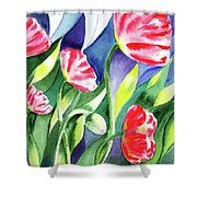 Pink Poppies Batik Style Shower Curtain