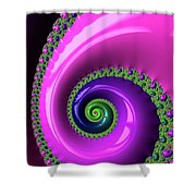 Pink Purple And Green Fractal Spiral Shower Curtain