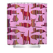 Pink Pussy Cat Shower Curtain