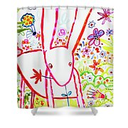 Pink Rabbit Shower Curtain