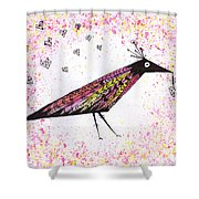 Pink Raven With Heart Shower Curtain